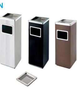thùng rác inox gạt tàn thuốc vuông