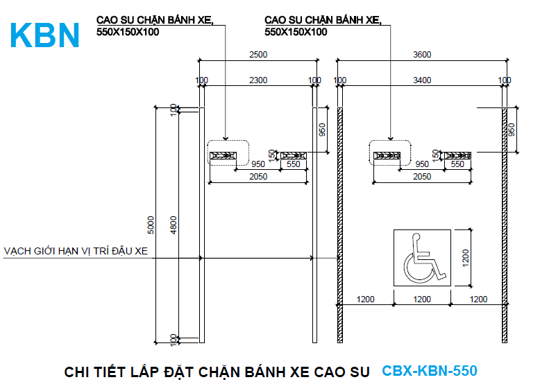 lắp đặt chèn bánh xe KBN550